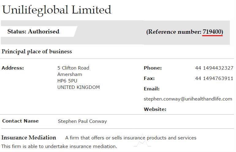 Компания Unilife лицензирована управлением по финансовому надзору Великобритании для администрирования договоров страхования, и сбора страховых премий